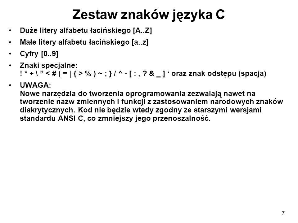 Zestaw znaków języka C Duże litery alfabetu łacińskiego [A..Z]